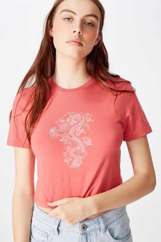 Fitted Graphic T Shirt, SPICED CORAL/STENCIL DRAGON