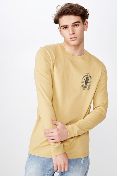 Slim Long Sleeve Graphic T Shirt, WASHED MUSTARD/TOPAZ