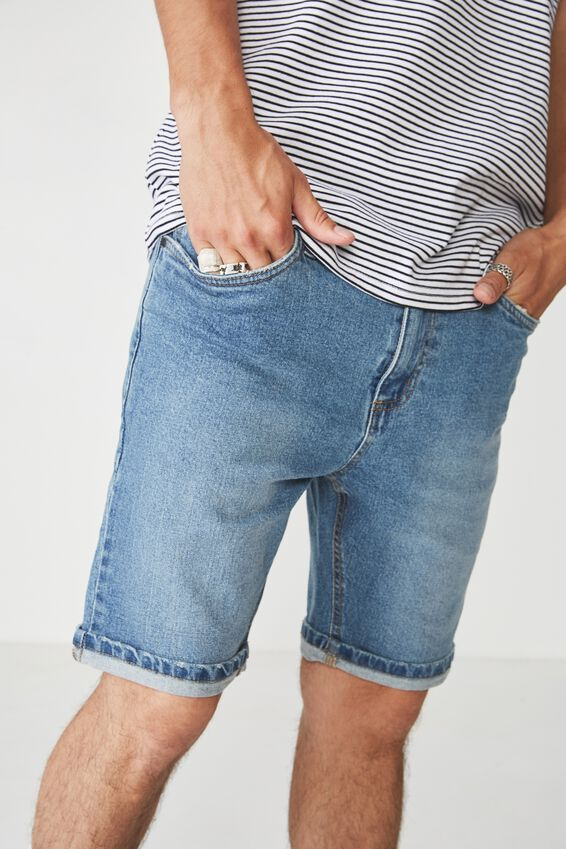 Tapered Denim Short, VINTAGE BLUE