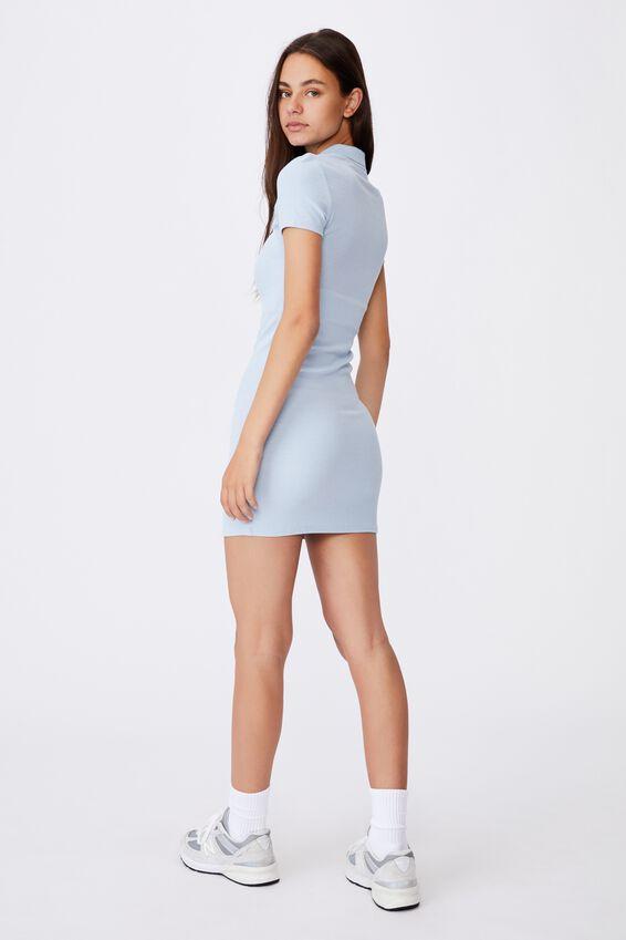Short Sleeve Collared Rib Dress, SKYWAY