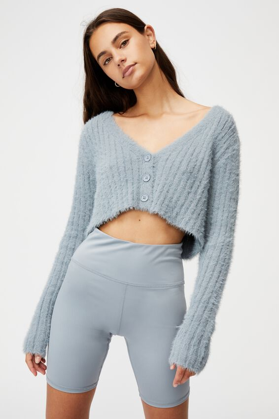 Fluffy Knit Super Crop Cardi, FOG GREY