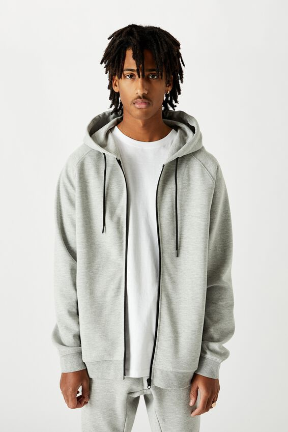 Tech Zip Through Hoodie, LIGHT GREY MARLE