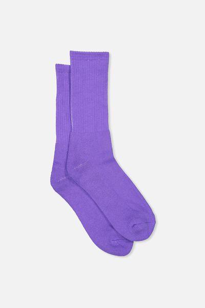 Retro Ribbed Socks, SLD PURPLE