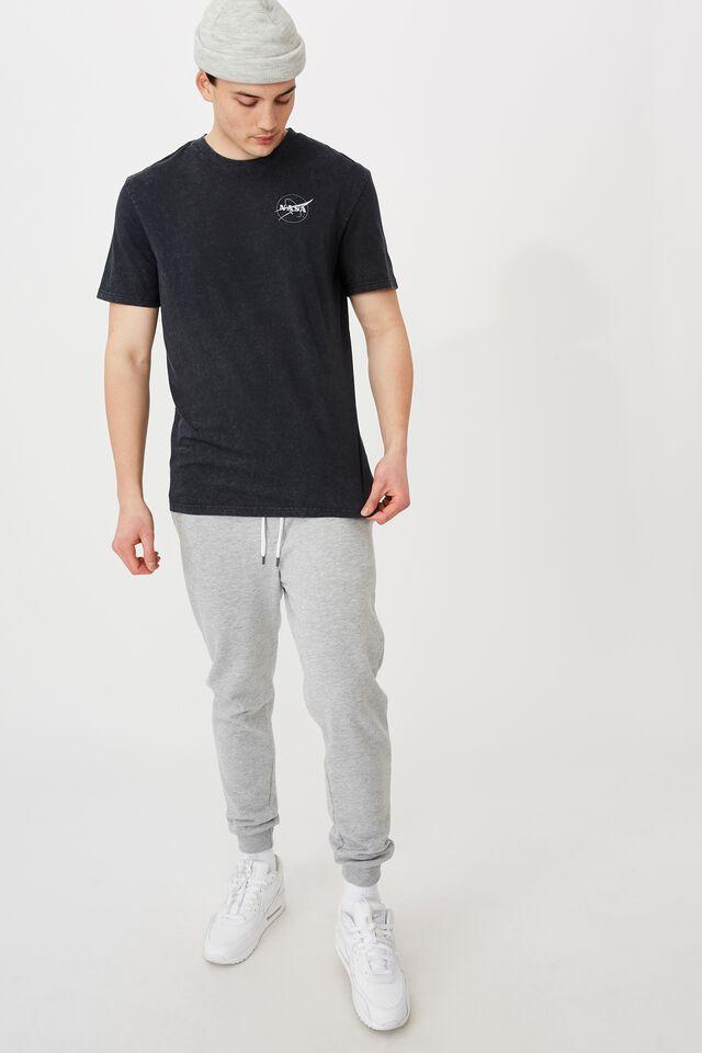 Regular License T Shirt, LCN NAS WASHED BLACK/NASA
