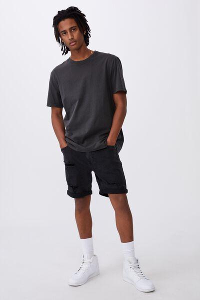 Slim Cut Denim Short, WASHED BLACK