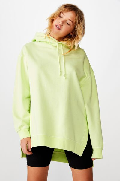 Oversized Split Hem Hoodie, WASHED LIME CREAM