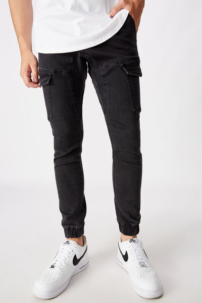 Utility Pocket Jean, WASHED BLACK