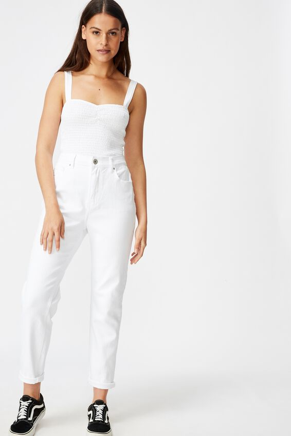 High Rise Straight Leg Jean, WHITE