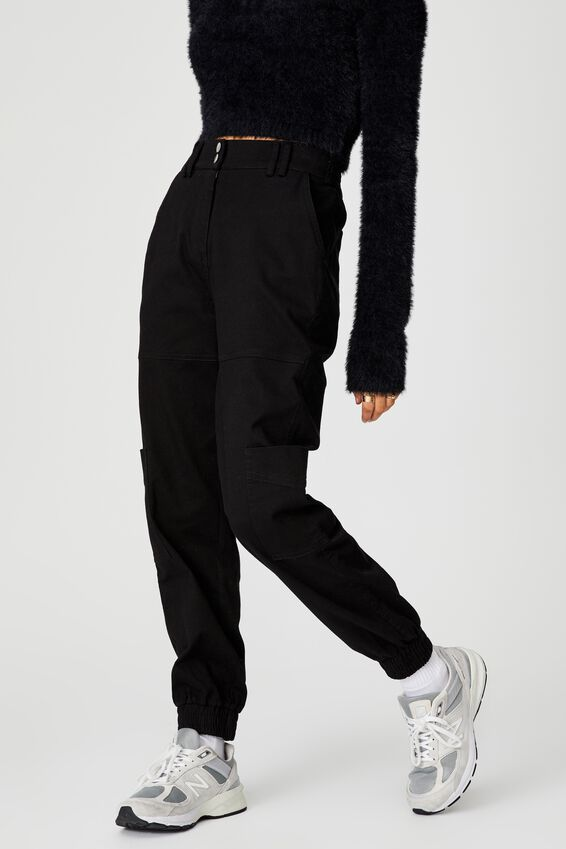 Slim Fit Cargo Pant, BLACK