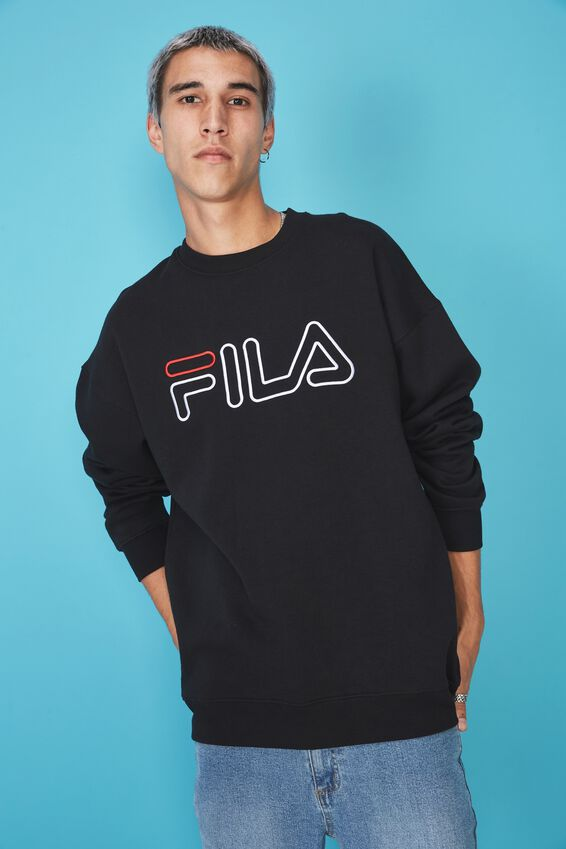 Fila Lcn Oversized Embroidered Crew, BLACK