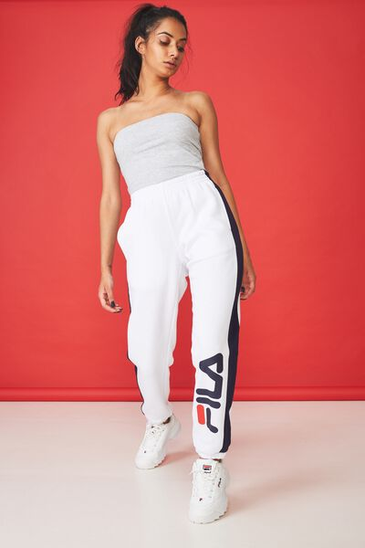Fila Side Stripe Trackpant, WHITE