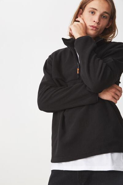Qtr Zip Polar Fleece, BLACK