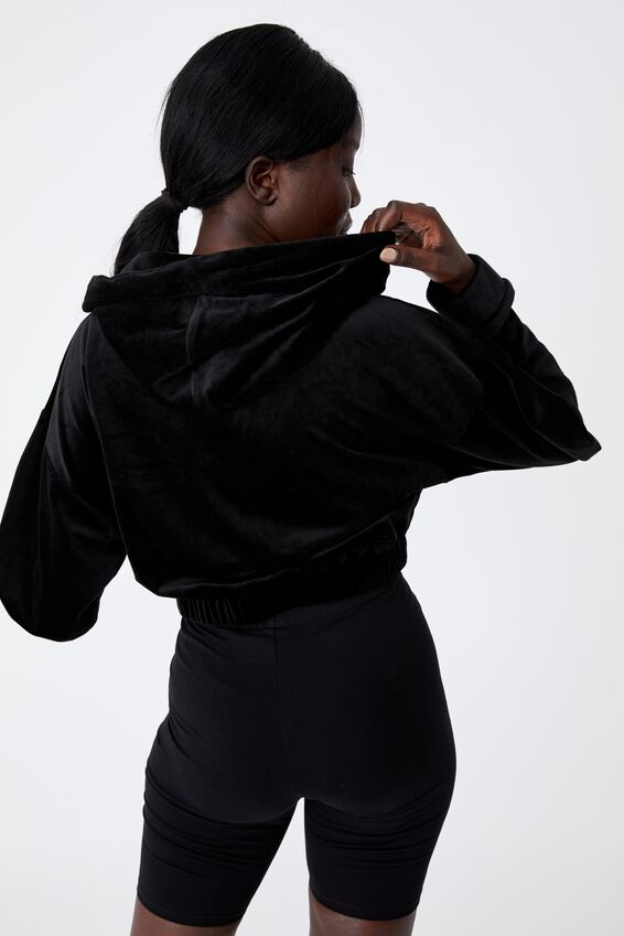 Velour Cropped Hoody, BLACK