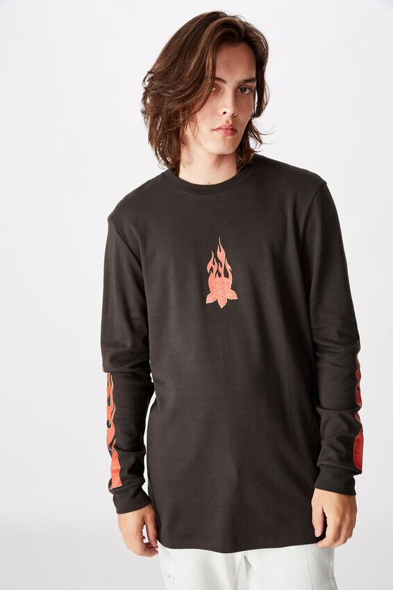 Slim Long Sleeve Graphic T Shirt, PIRATE BLACK/FLAMES