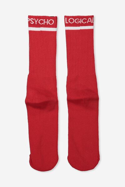 Retro Ribbed Socks, PSYCHO LOGICAL_RED