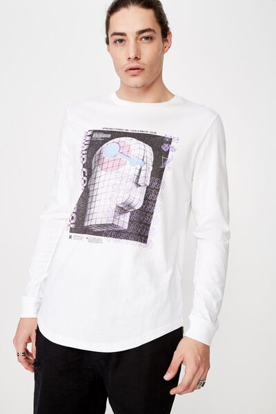Curved Long Sleeve Graphic T Shirt, WHITE/MIND VISIONS