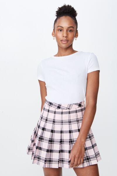 Short Sleeve Rib T Shirt, WHITE
