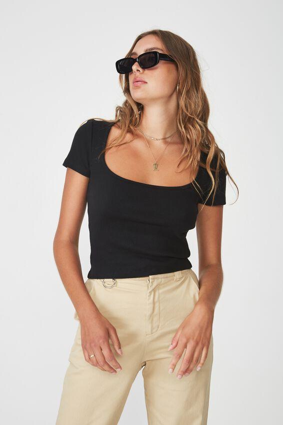 Wide Scoop Neck Short Sleeve Top, BLACK