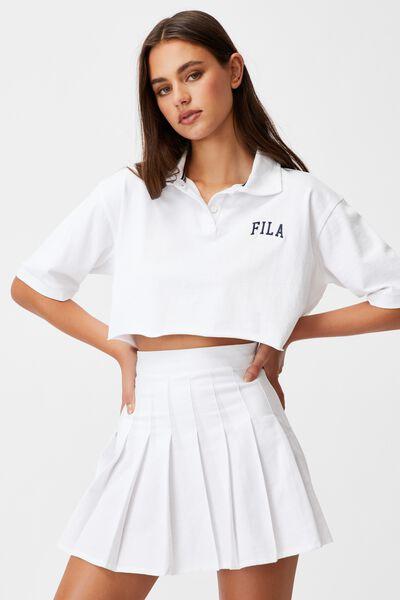 Fila Lcn Short Sleeve Crop Polo Top, WHITE