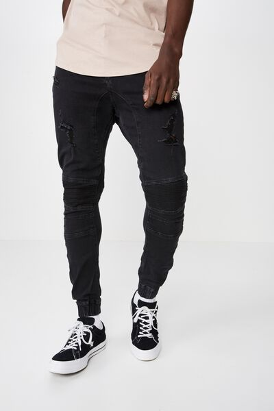 Moto Denim Cuffed Jean, WASHED BLACK RIP