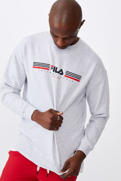 Fila Lcn Oversized Graphic Crew, SILVER MARLE/SPORT