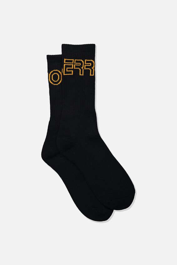 Retro Ribbed Socks, OUTLINE ERRORS_BLK