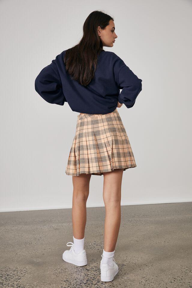 Pleated Skirt, ABBIE CHECK_BEACH SAND