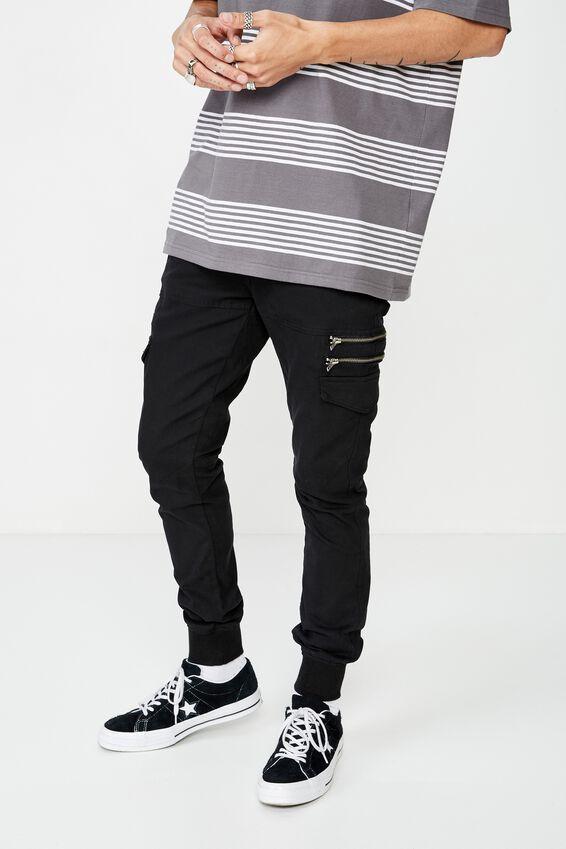 Zipt Utility Pant, BLACK