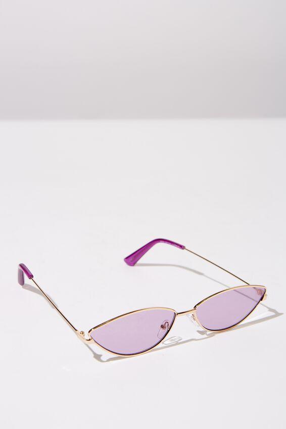 Mini Metal Cateye Sunglasses, S GOLD_PURP