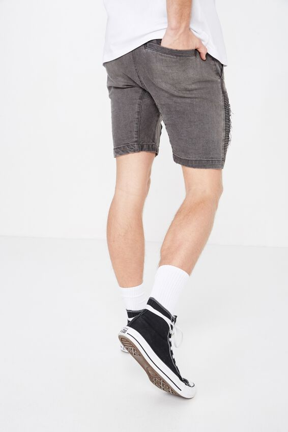 Moto Denim Short, MID GREY