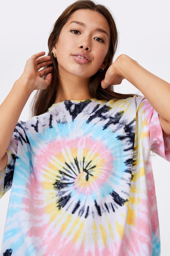 Super Relaxed Graphic Tee, SWIRL TIE DYE