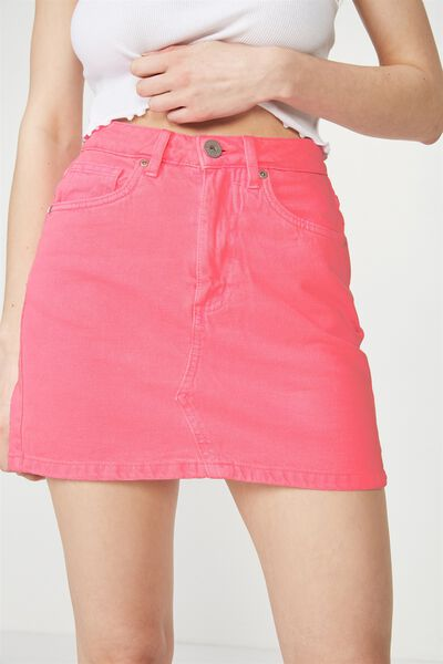Classic Denim Skirt 4, NEON PINK