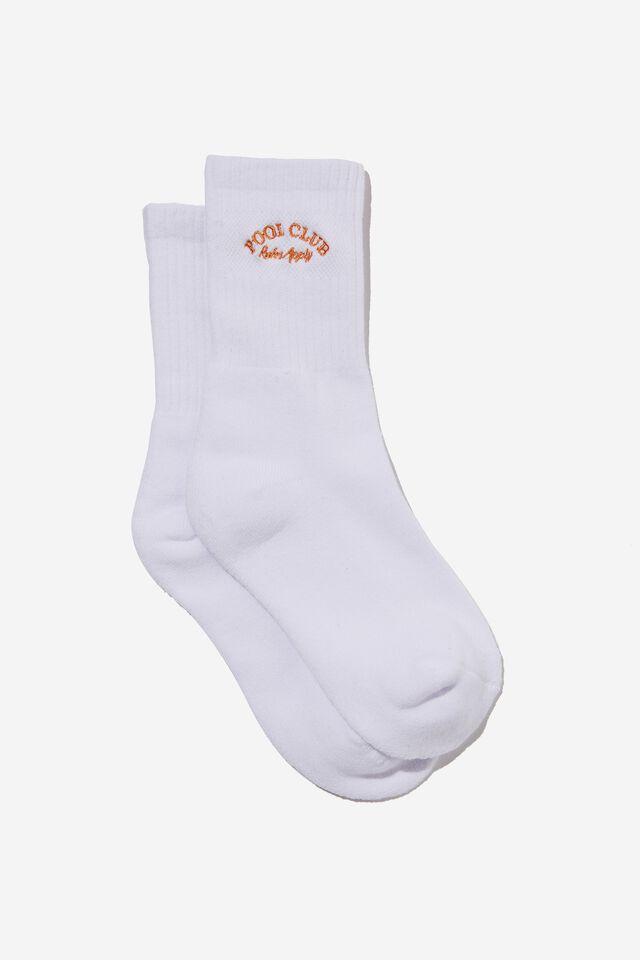 Retro Sport Sock, WHITE/POOL CLUB