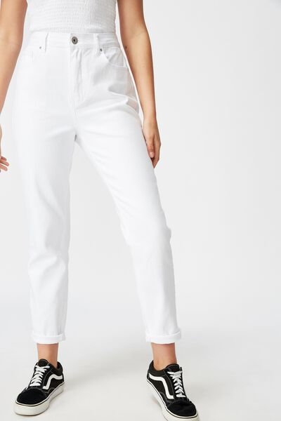 High Rise Straight Leg Jean, WHITE