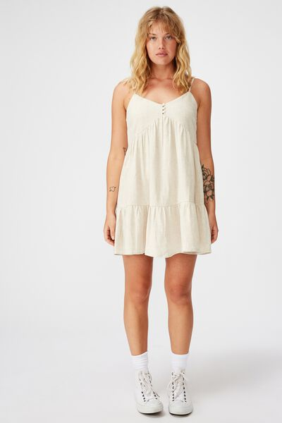 Fit And Flare Tiered Dress, NATURAL