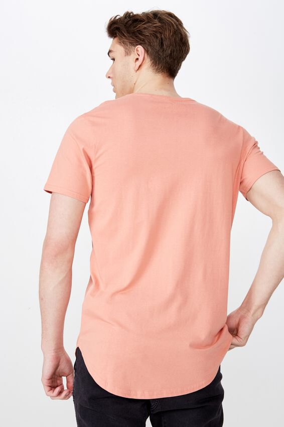 Curved T Shirt, CORAL