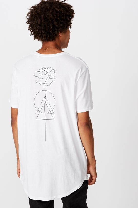 Curved Graphic T Shirt, WHITE FLOWERLINE