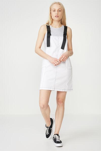 Contrast Stitch Overall Dress, WHITE_BLACK STITCH