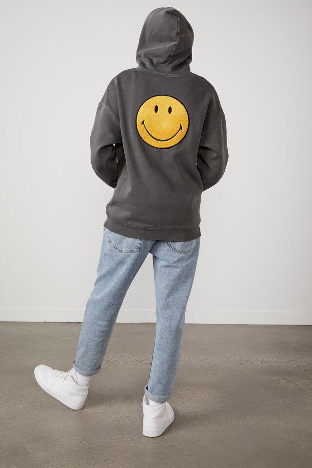 Smiley Oversized Hoodie, LCN SMI WASHED BLACK/SMILEY NICE DAY