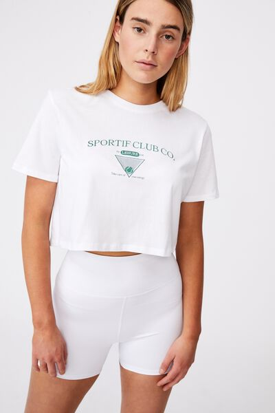 Short Sleeve Crop Graphic T Shirt, WHITE/SPORTIF CLUB