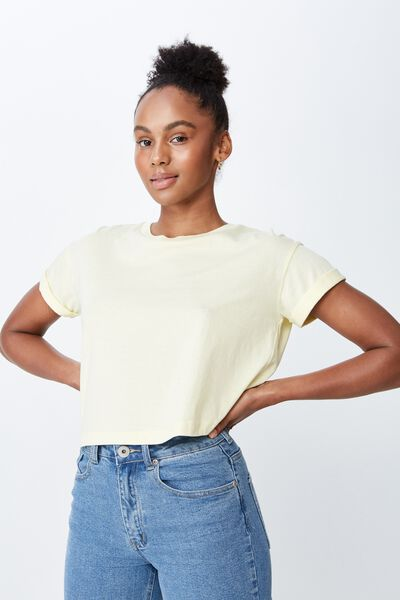 Curved Hem Short Sleeve Tee, PASTEL YELLOW