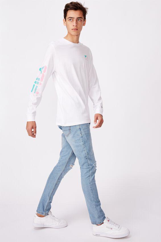 Fila Lcn Long Sleeve Graphic T Shirt, WHITE/BREAK FREE