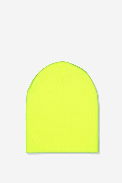 Ribbed Beanie, NEON LIME