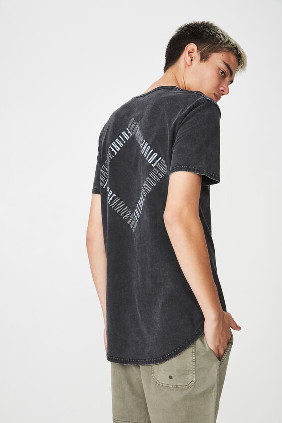 Curved Graphic T Shirt, WASHED BLACK/FUTURE