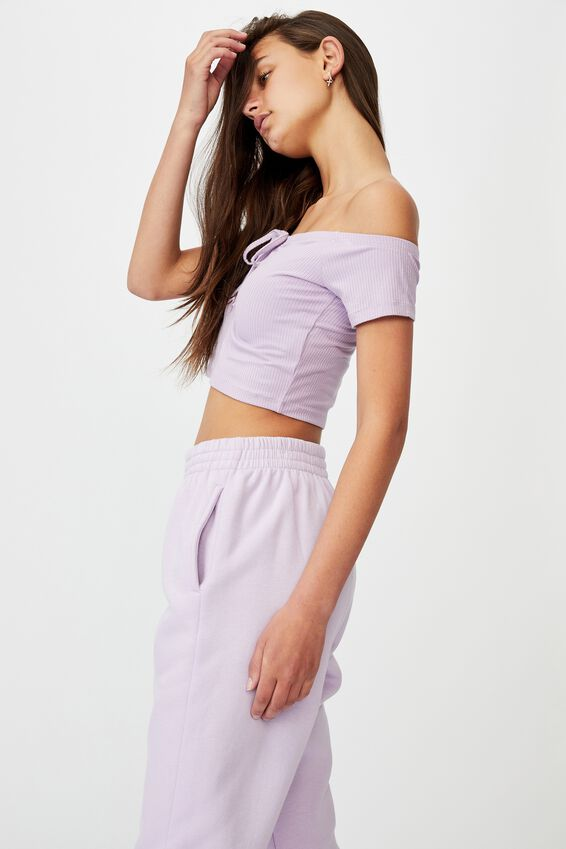 Rib Key Hole Front Top, ORCHID BLOOM