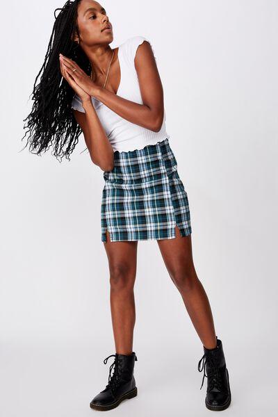 Double Split Mini Skirt, SEA GREEN SUSIE CHECK