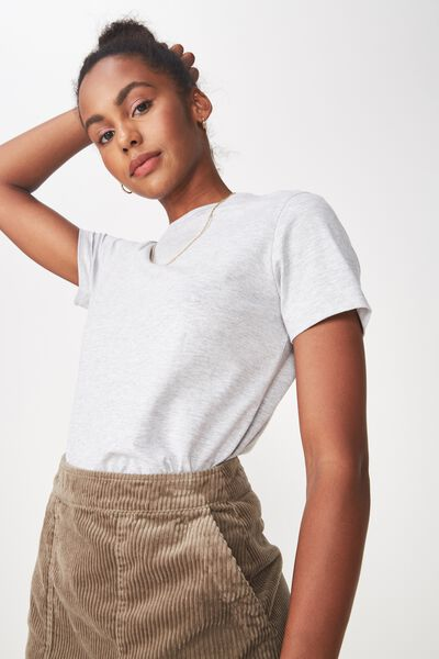Basic T Shirt Plain, GREY MARLE