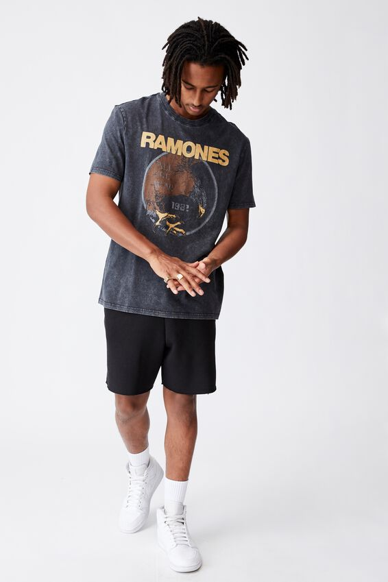 Regular Music Merch T Shirt, LCN MT VINTAGE BLACK/RAMONES