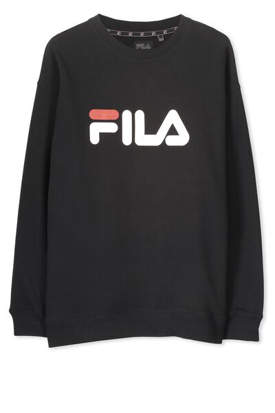 Fila Crew Sweater Large Logo, BLACK