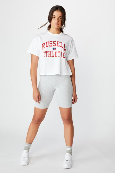 Russell Athletic Arch Eagle R Logo Cropped Tee, WHITE